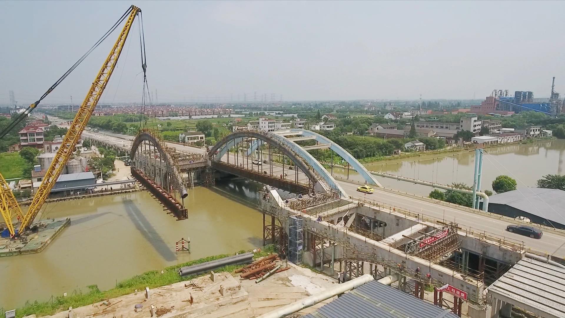 桐星大桥主跨架设正式完成