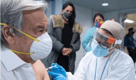 联合国秘书长古特雷斯接种第一剂新冠疫苗
