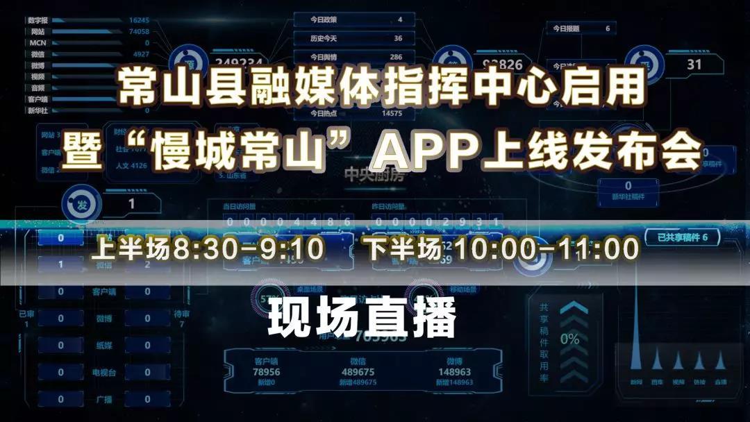 """常山县融媒体指挥中心启用暨""""慢城常山""""APP上线发布会11月8日直播"""
